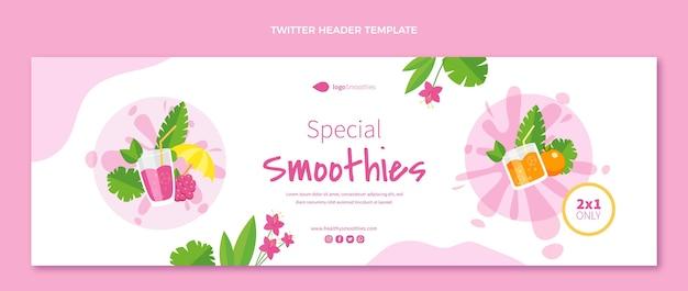 Cabeçalho de twitter de smoothies de design plano