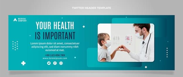 Cabeçalho de twitter médico de design plano