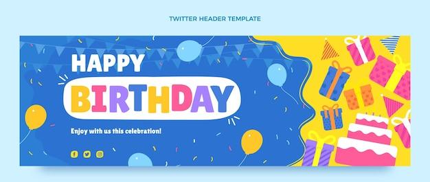 Cabeçalho de twitter plano mínimo de aniversário