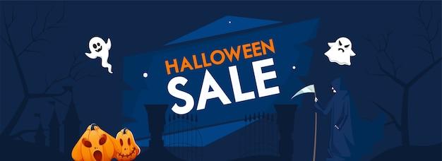 Cabeçalho de venda de halloween ou banner com jack-o-lanterns, desenhos animados fantasmas e grim reaper sobre fundo azul.