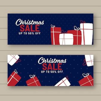 Cabeçalho de venda de natal e design de banner com caixas de presente