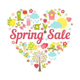 Cabeçalho de venda de primavera em ilustração vetorial de decoração em forma de coração