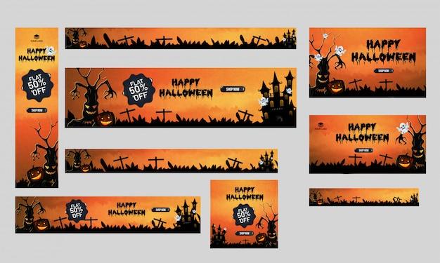 Cabeçalho de venda feliz dia das bruxas ou conjunto de banner, plana 50% de desconto