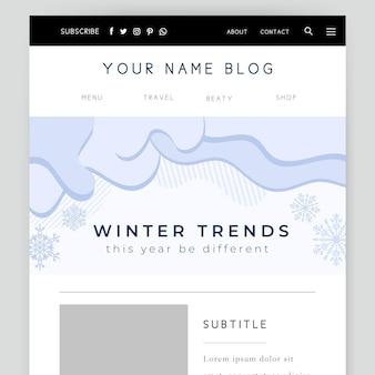 Cabeçalho do blog de inverno monocolor abstrato