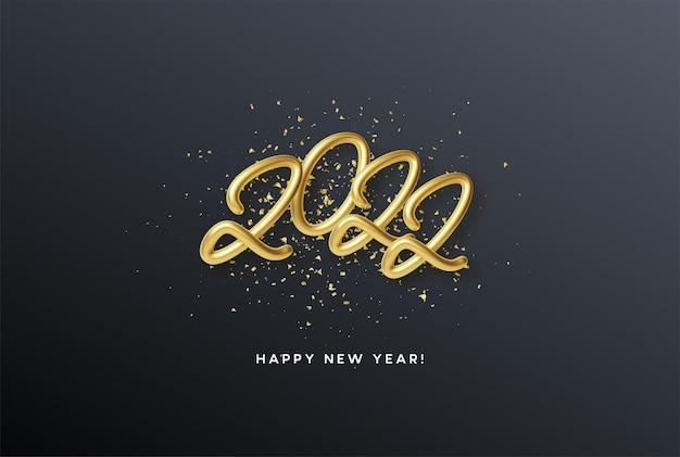 Cabeçalho do calendário 2022 número de ouro metálico realista em fundo de glitter dourados. feliz ano novo 2022 fundo dourado. ilustração vetorial eps10
