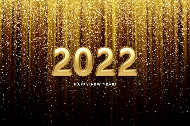 Cabeçalho do calendário 2022 número de ouro metálico realista em fundo de glitter dourados. feliz ano novo 2022 fundo dourado.