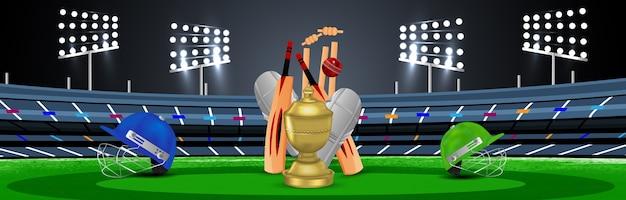 Cabeçalho do campeonato de críquete ou banner com equipamento de críquete com troféu de ouro