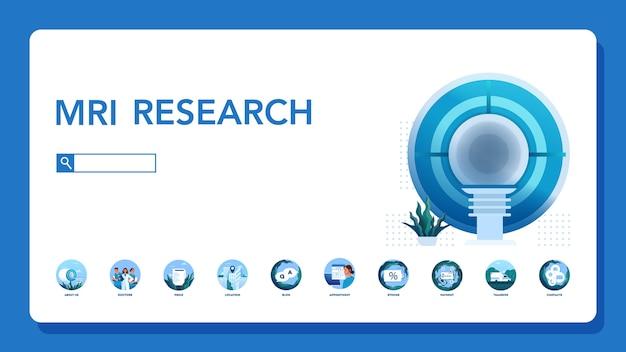 Cabeçalho do site da ressonância magnética. pesquisa e diagnóstico médico. scanner tomográfico moderno. banner de web de clínica de ressonância magnética ou ideia de interface de site.