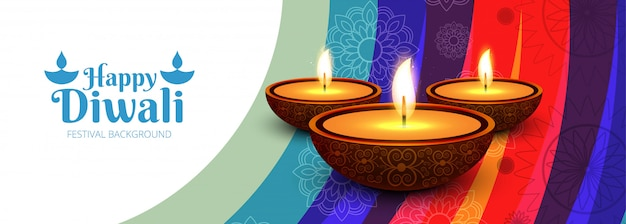 Cabeçalho do site ou banner com festival de diwali
