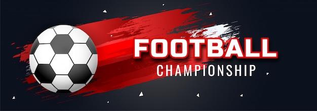 Cabeçalho do site ou banner design com futebol e futebol campeonato texto em vermelho backgr