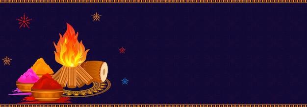 Cabeçalho do site ou banner design com ilustração de fogueira, dh