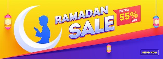 Cabeçalho do site ou banner design. ilustração, de, cute, muçulmano, menino