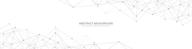 Cabeçalho do site ou desenho de banner com fundo geométrico abstrato e pontos e linhas de conexão. conexão de rede global. tecnologia digital com fundo de plexo e espaço para seu texto.