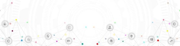 Cabeçalho do site ou design de banner com formação técnica abstrata e pontos e linhas de conexão. tecnologia digital e conceito de comunicação com ícones lisos.