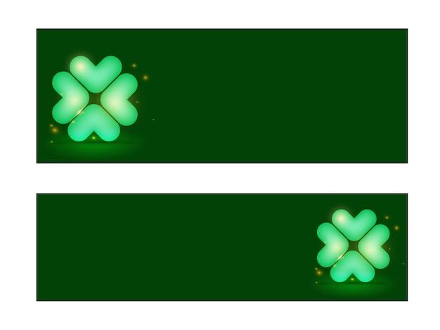 Cabeçalho do site ou design de banner definido com folha de trevo brilhante