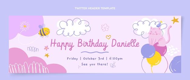 Cabeçalho do twitter de aniversário infantil desenhado à mão