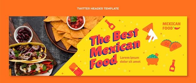 Cabeçalho do twitter de comida mexicana em estilo simples