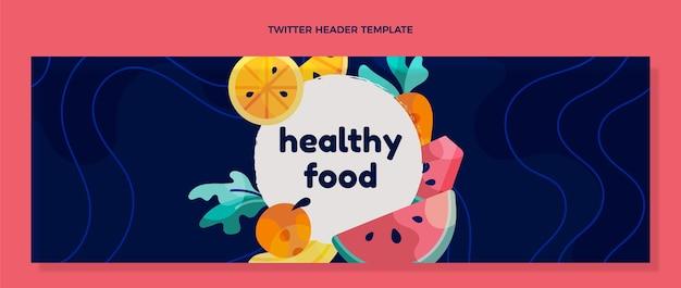 Cabeçalho do twitter de comida saudável em design plano