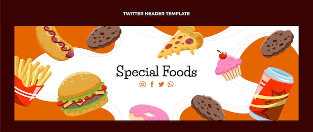 Cabeçalho do twitter de fast food desenhado à mão