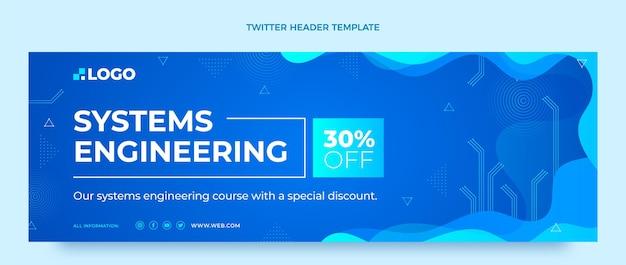 Cabeçalho do twitter de tecnologia de fluido abstrato de gradiente