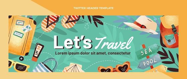 Cabeçalho do twitter de viagem desenhado à mão