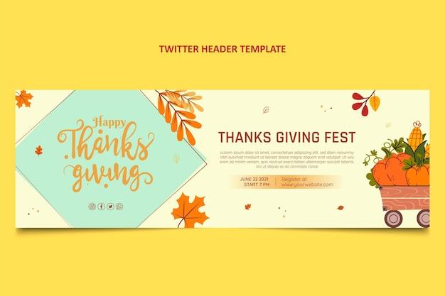 Cabeçalho do twitter desenhado à mão com design plano de ação de graças