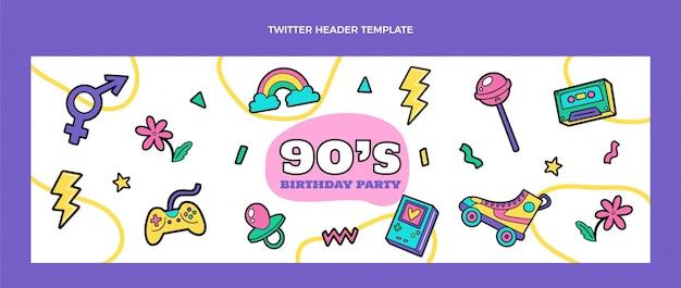 Cabeçalho do twitter desenhado à mão dos anos 90