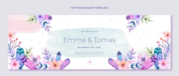 Cabeçalho do twitter do casamento boho em aquarela