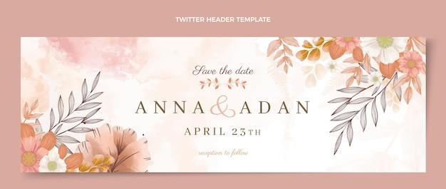 Cabeçalho do twitter do casamento desenhado à mão em aquarela