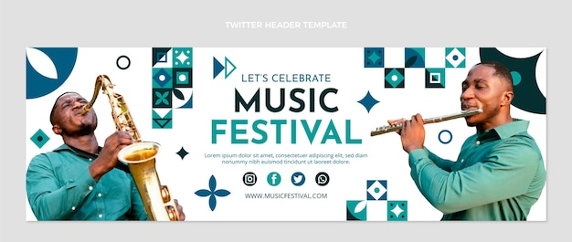Cabeçalho do twitter do festival de música colorido em mosaico plano