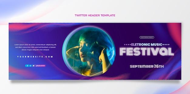 Cabeçalho do twitter do festival de música de meio-tom gradiente