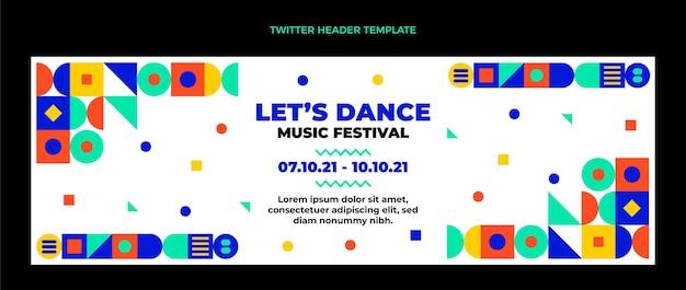 Cabeçalho do twitter do festival de música de mosaico em design plano