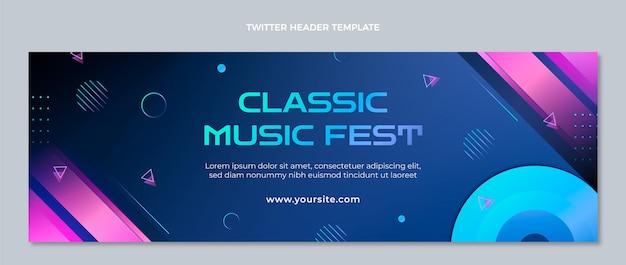 Cabeçalho do twitter do festival de música gradiente colorido