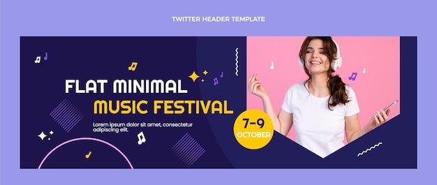 Cabeçalho do twitter do festival de música minimalista de design plano