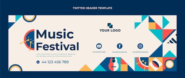 Cabeçalho do twitter do festival de música mosaico plano