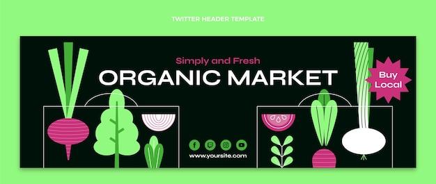 Cabeçalho do twitter do mercado orgânico de design plano