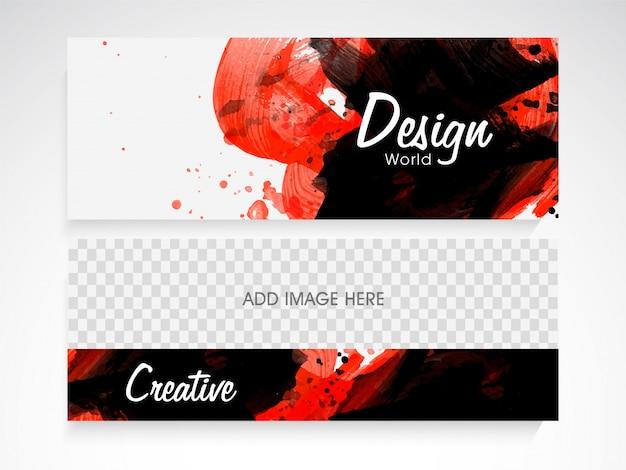 Cabeçalho ou banner de site criativo com traço de escova abstrata e espaço para sua imagem.