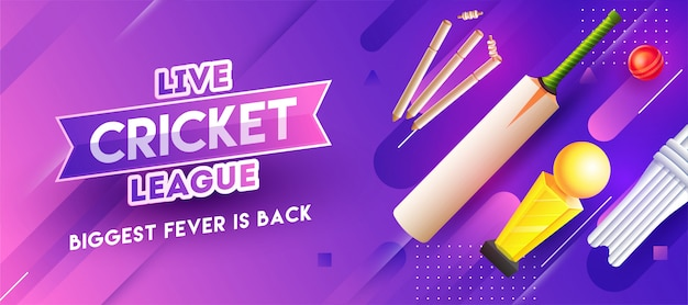 Cabeçalho roxo ou banner design design com elementos de críquete