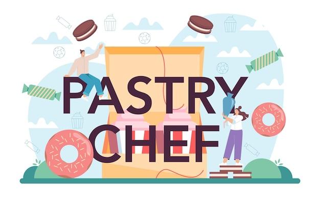 Cabeçalho tipográfico chef de confeitaria confeiteiro profissional doce padeiro