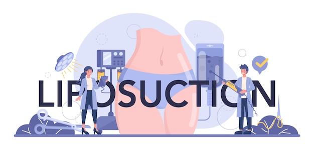 Cabeçalho tipográfico da cirurgia de lipoaspiração