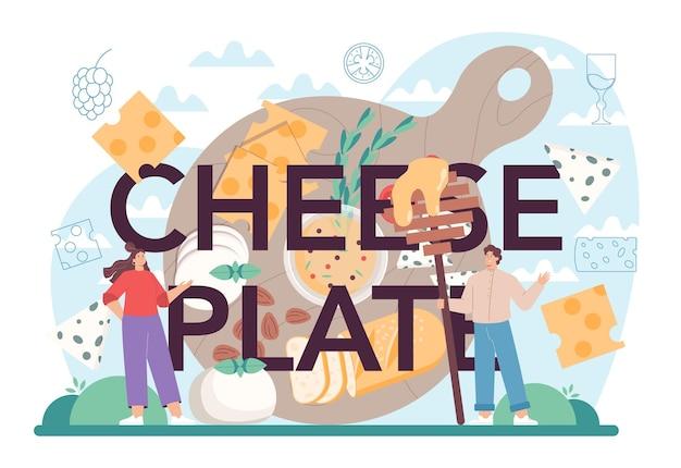 Cabeçalho tipográfico da placa de queijo. chef profissional fazendo bloco
