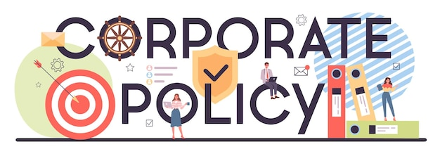 Cabeçalho tipográfico da política corporativa