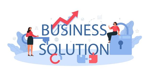 Cabeçalho tipográfico da solução de negócios