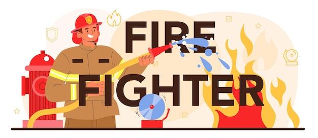 Cabeçalho tipográfico de bombeiro. brigada de incêndio profissional
