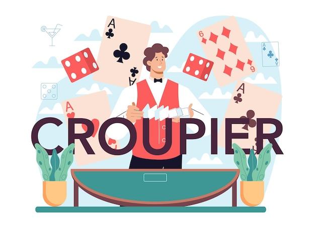 Cabeçalho tipográfico de croupier uniformizado atrás de um balcão de jogos de azar