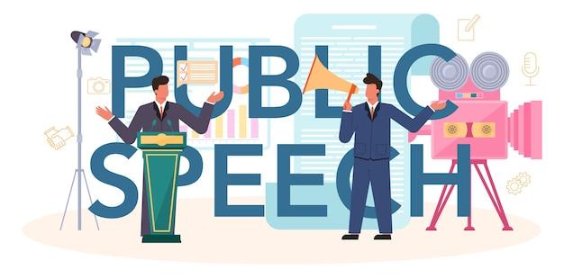 Cabeçalho tipográfico de discurso público. palestrante ou comentarista profissional falando ao microfone.