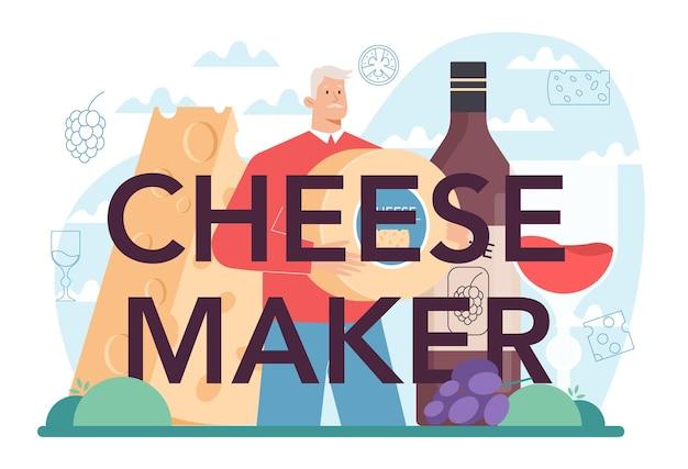 Cabeçalho tipográfico de fabricante de queijos chef profissional fazendo bloco