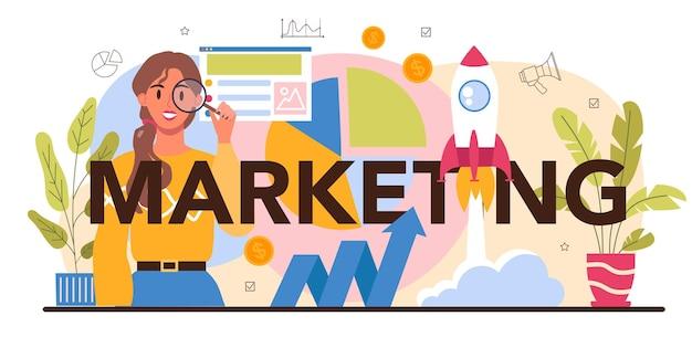 Cabeçalho tipográfico de marketing. estratégia de marketing e comunicação