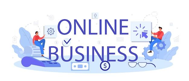 Cabeçalho tipográfico de negócios online