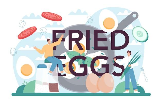 Cabeçalho tipográfico de ovos fritos ovos mexidos fritos escaldados